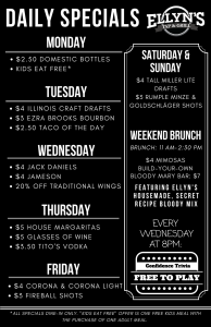 Ellyns restaurant 2017 Daily Specials Glen Ellyn