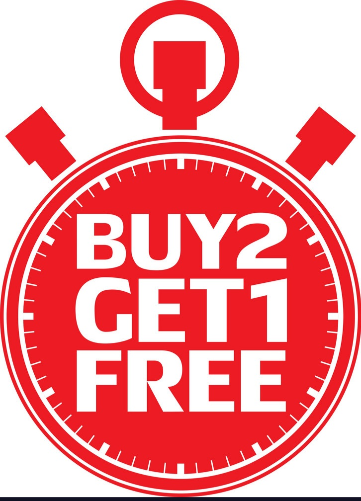 Buy 2 get one free this weekend only. 8-14 to 8-15